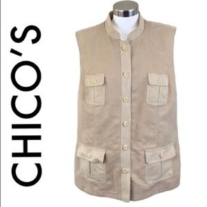 CHICO'S TAN FAUX SUEDE SLEEVELESS JQCKET SIZE 3